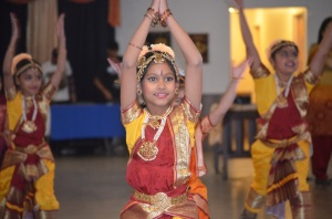 "Punjab girls presenting a traditional dance in Livingston, CA at ""Color of India."""